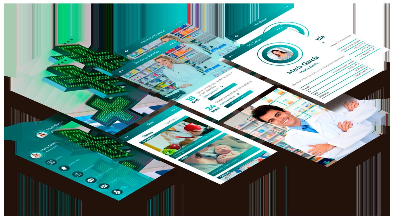Imagen familia de apps plataforma de oficina de farmacia